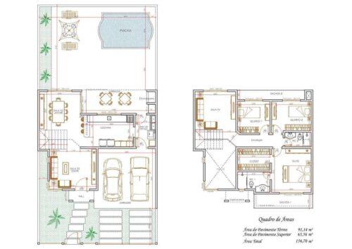 tipos de plantas de sobrados até 70 m² 500x354 - Plantas de sobrados até 70 m² para imprimir