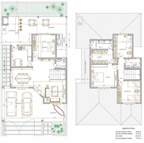 tipos de plantas de sobrados de até 90 m² 500x498 - Plantas de sobrados de até 90 m² fotos para imprimir