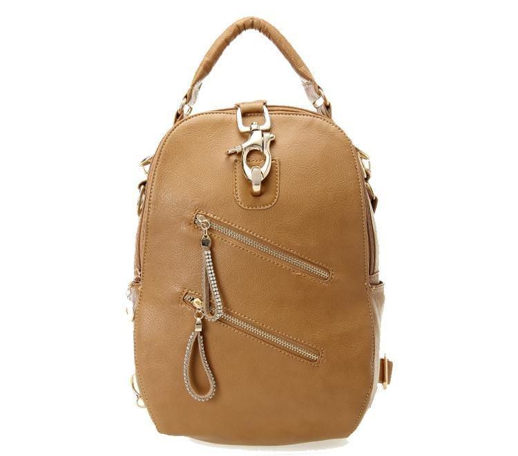 bolsa marrom de costa com ziper e belos detalhes