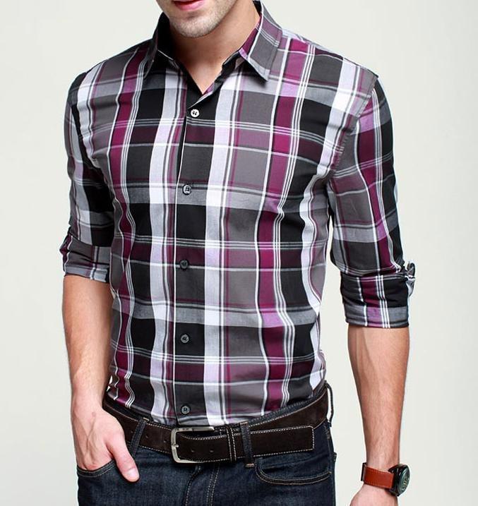 camisa com manga média xadrez de três cores
