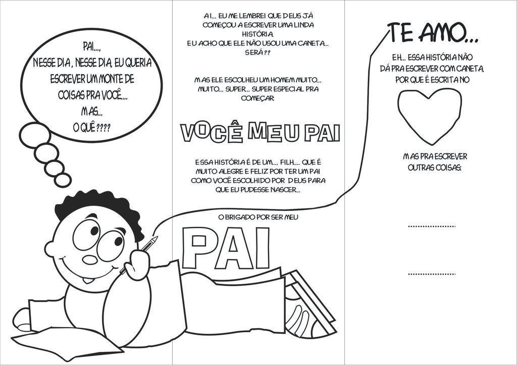 cart%C3%A3o de dia dos pais para colorir 2 - Cartão de Dia dos Pais para imprimir e oferecer para o paizão