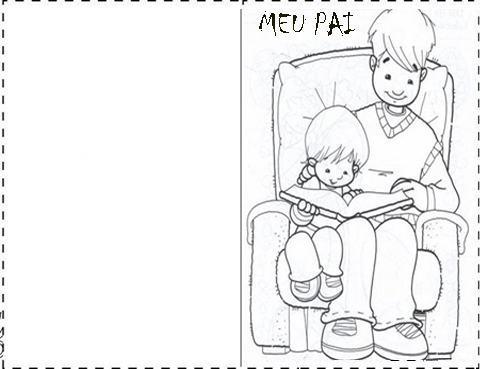 cart%C3%A3o de dia dos pais para pintar 2 - Cartão de Dia dos Pais para imprimir e oferecer para o paizão