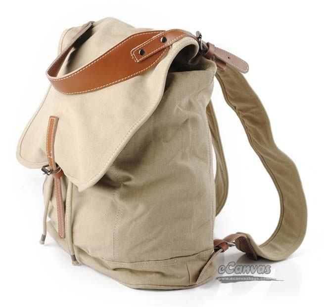 mochila de pano com detalhes de couro para costas
