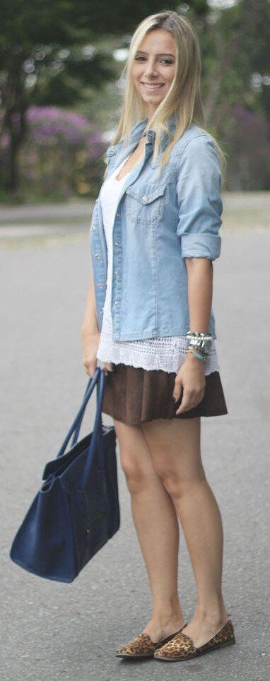 camisa jeans feminina2 - Camisa jeans feminina Looks para usar a seu favor