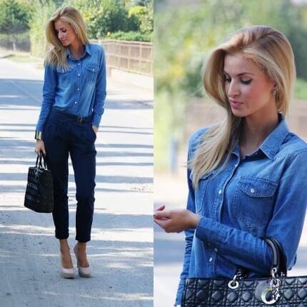 imagem 18 1 - Camisa jeans feminina Looks para usar a seu favor