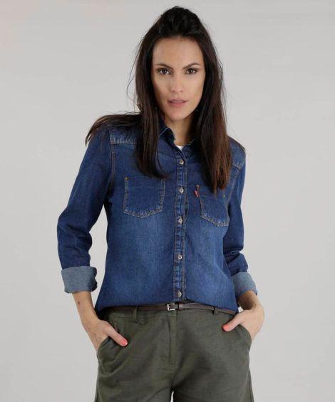imagem 4 470x564 - Camisa jeans feminina Looks para usar a seu favor