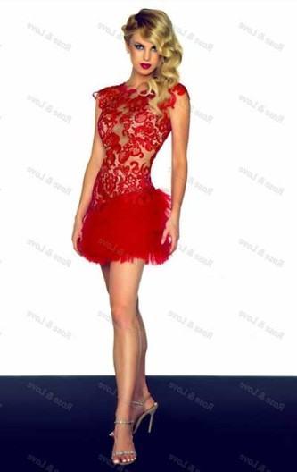 vestidos curtos de renda vermelhos de festa
