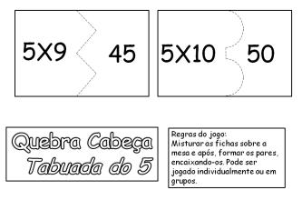 atividades da tabuada do 5 para recortar 333x231 - Tabuada do 5 para colorir - Aprendizado com diversão