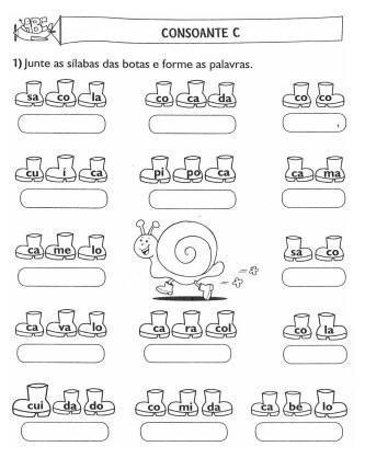 atividades de alfabetização sílaba simples