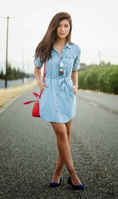chemise e rasteirinha 470x795 - CHEMISE JEANS a peça do verão para mulheres modernas