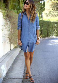 chemise jeans com sandalia - CHEMISE JEANS a peça do verão para mulheres modernas