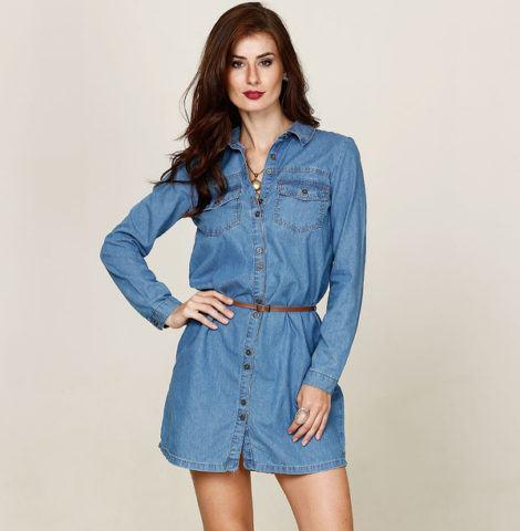 chemise jeans manga longa com cintinho 470x480 - CHEMISE JEANS a peça do verão para mulheres modernas