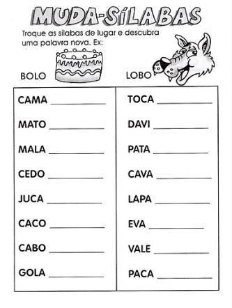 dicas de atividades de alfabetização sílaba simples para imprimir