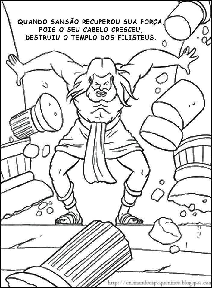 Bible Coloring Pages Samson And Delilah Activity Bible