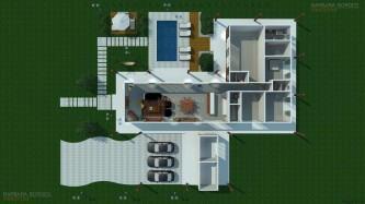 modelos de planta de casas com 2 quartos 1 su%C3%ADte com closet 3d 333x187 - Planta de casas com 2 quartos 1 suíte com closet