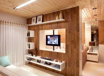 nichos de madeira para sala
