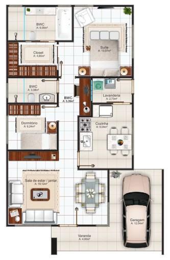 planta de casas com 2 quartos 1 su%C3%ADte com closet 333x508 - Planta de casas com 2 quartos 1 suíte com closet