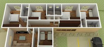 planta de casas com 2 quartos 1 su%C3%ADte com closet 3d 333x152 - Planta de casas com 2 quartos 1 suíte com closet
