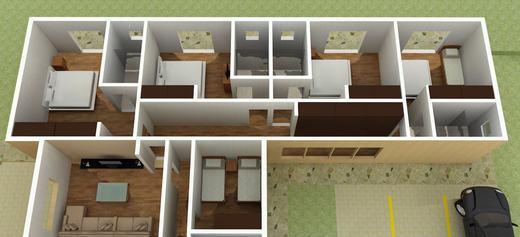 Planta de casas com 2 quartos 1 su te com closet s detalhe for Plantas de casas tipo 3 modernas