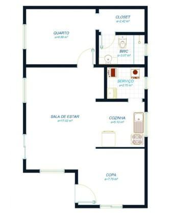 planta de casas com 2 quartos 1 su%C3%ADte com closet para imprimir 333x417 - Planta de casas com 2 quartos 1 suíte com closet