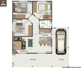 plantas de casas 3 quartos 100 m%C2%B2 gratis 333x282 - Encontre Plantas de casas 3 quartos 100 m²