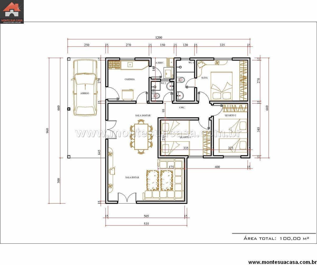 Encontre plantas de casas 3 quartos 100 m s detalhe for Plantas de casas tipo 3 modernas