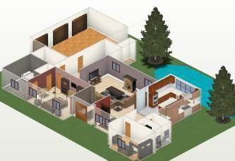 plantas de casas de praia com 3 quartos 3d 333x229 - Modelos de Plantas de casas de praia com 3 quartos