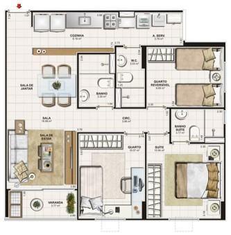 plantas de casas de praia com 3 quartos para imprimir 333x339 - Modelos de Plantas de casas de praia com 3 quartos