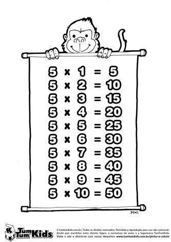 tabuada do 5 para colorir 333x472 - Tabuada do 5 para colorir - Aprendizado com diversão