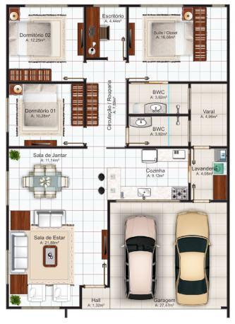 tipos de planta de casas com 2 quartos 1 su%C3%ADte com closet 333x458 - Planta de casas com 2 quartos 1 suíte com closet