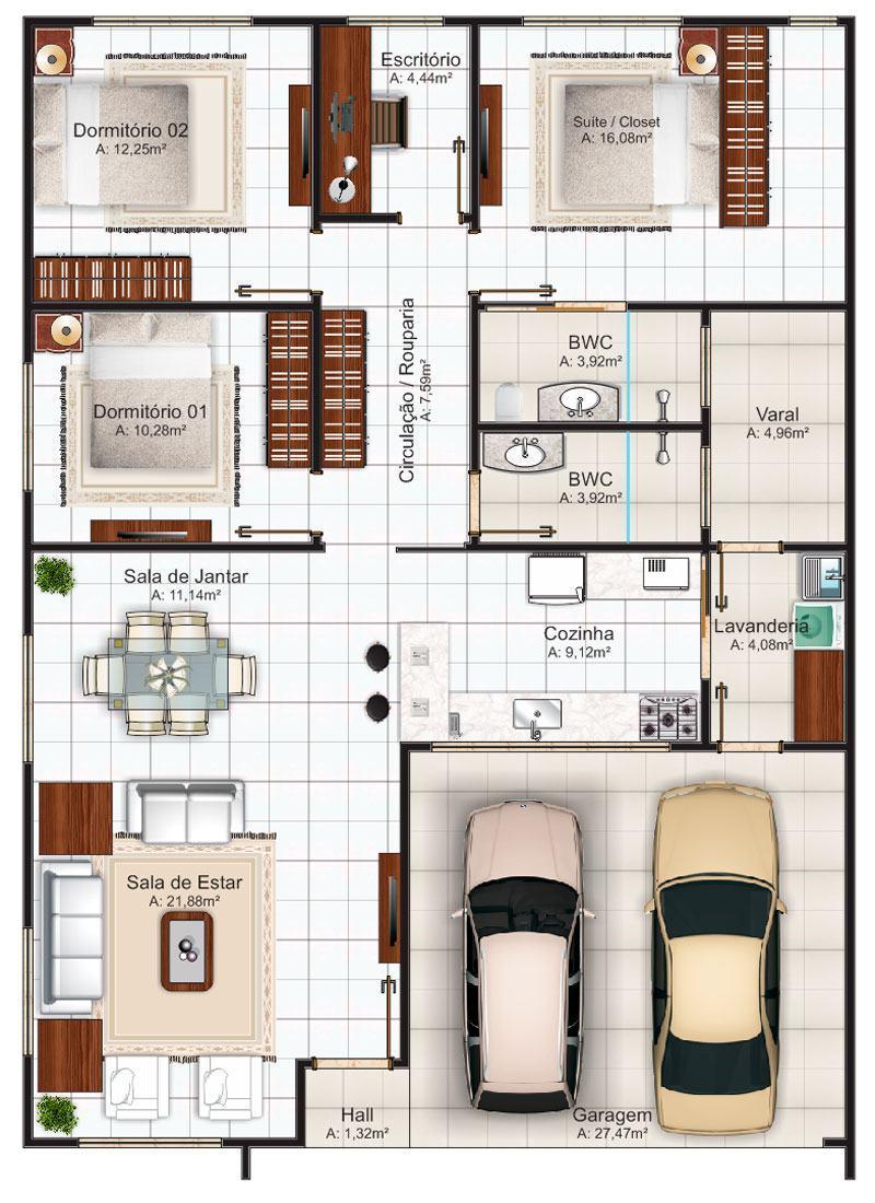 Planta de casas com 2 quartos 1 su te com closet s detalhe for Plano casa minimalista 1 planta