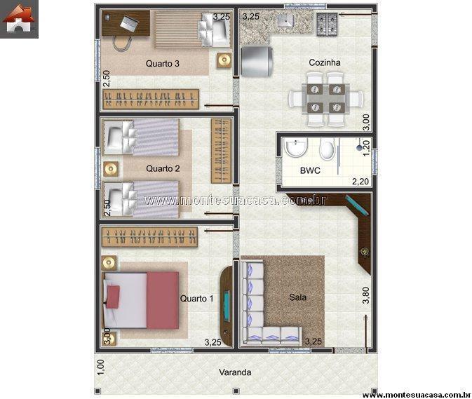 Plantas de casas em l com 3 quartos affordable plantas de for Plantas de casas tipo 3