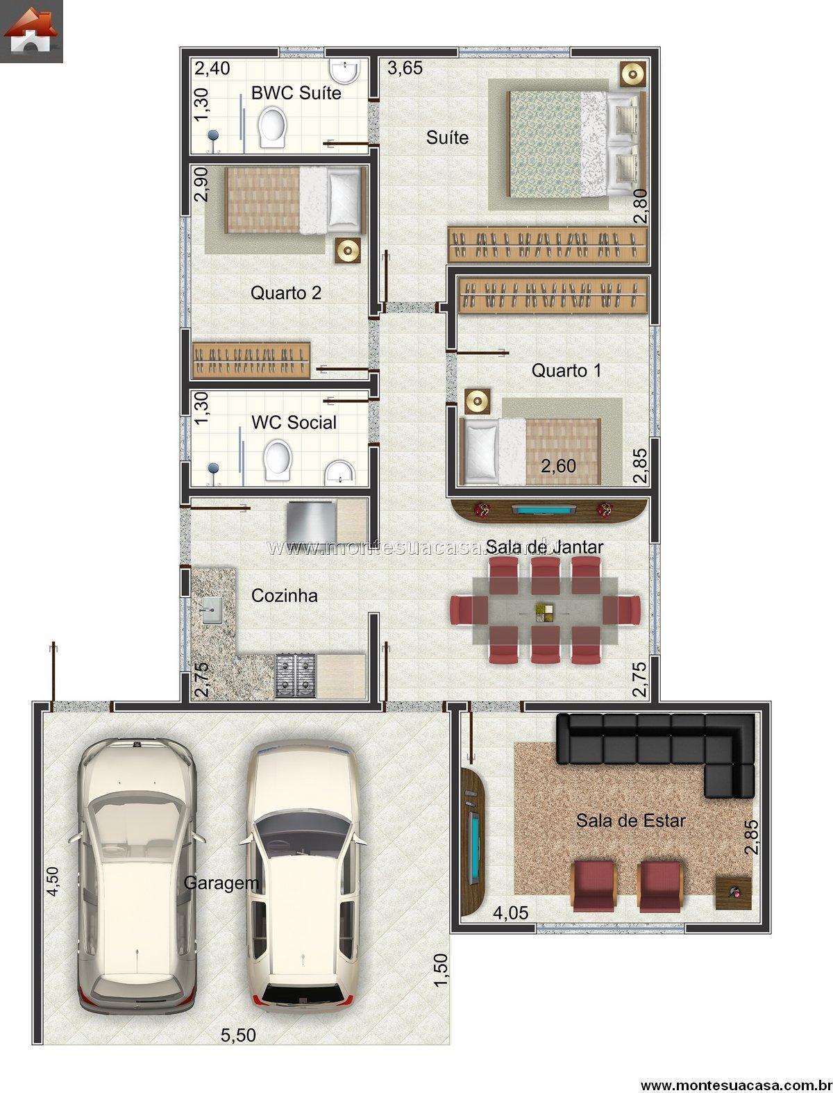 Encontre plantas de casas 3 quartos 100 m so detalhe for Casa moderna 2 andares 3 quartos