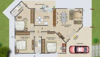 tipos de plantas de casas de praia com 3 quartos 333x191 - Modelos de Plantas de casas de praia com 3 quartos