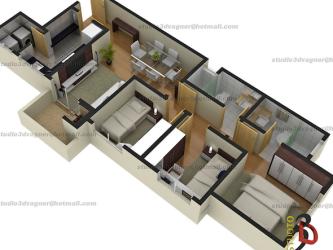 tipos de plantas de casas de praia com 3 quartos 3d 333x250 - Modelos de Plantas de casas de praia com 3 quartos