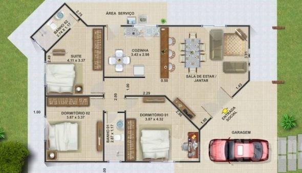 Modelos de plantas de casas de praia com 3 quartos s for Plantas de casas tipo 3