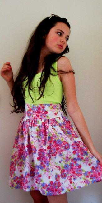 belas saias floridas cintura alta