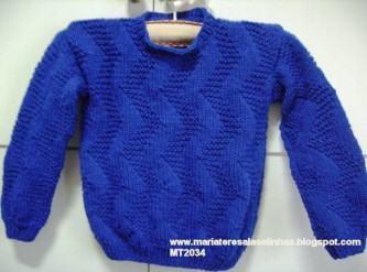 blusas de tricô infantil masculinas azul