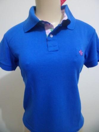 camisa dudalina polo feminina azul