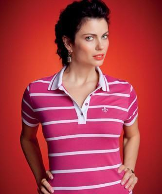 camisa pólo dudalina feminina listradas rosa