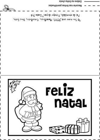 cartão de natal para imprimir e colorir