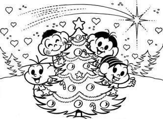 desenhos natalinos para imprimir turma da monica