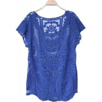 fotos de blusas de renda azul