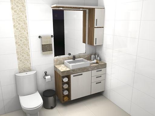 Gabinete de banheiro pequeno sob medida com cuba ou pia  So Detalhe -> Banheiro Pequeno Gabinete