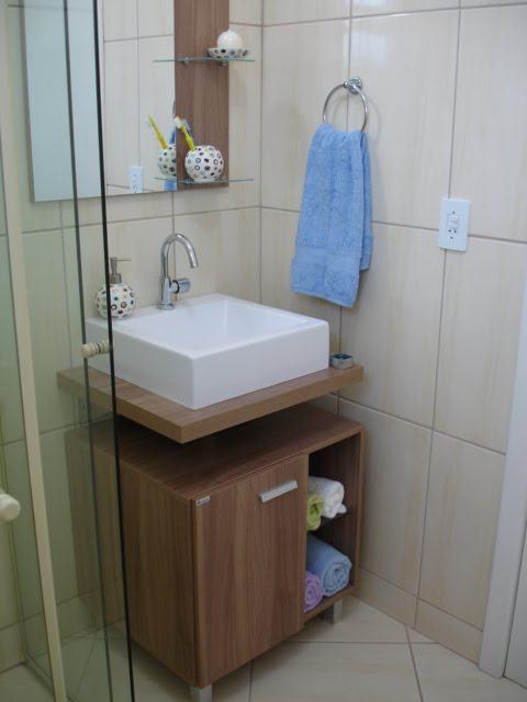 Gabinete de banheiro pequeno sob medida com cuba ou pia  So Detalhe -> Gabinete De Banheiro Sob Medida