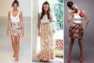 lindas saias floridas cintura alta