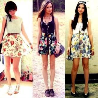 saias floridas cintura alta