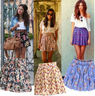 saias floridas cintura alta da moda