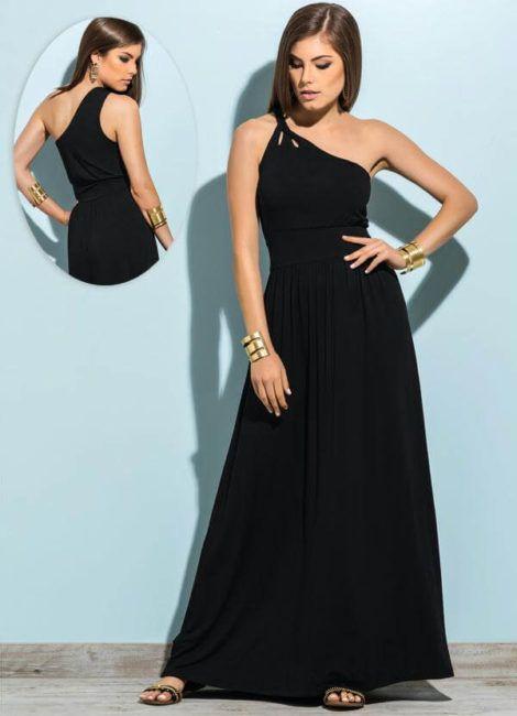 vestidos de um ombro so 3 470x650 - Vestidos de UM OMBRO SÓ curtos e longos modelos super interessantes