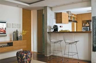 cozinha americana com sala conjugada